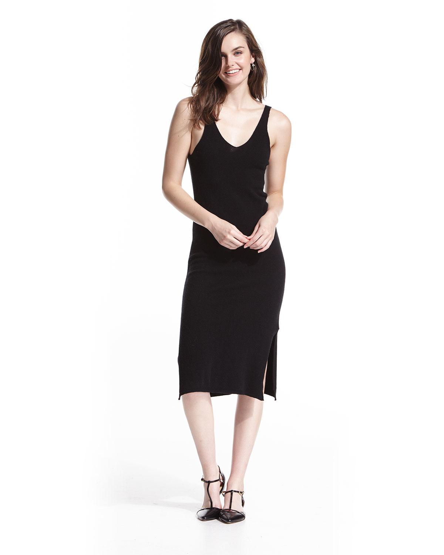 0d038e796565 Lyst - Neiman Marcus Cashmere V-neck Tank Sweater Dress in Black