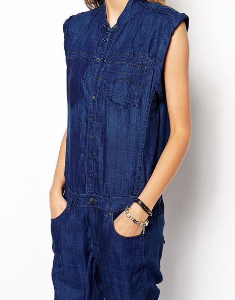 g star raw riley 3d denim jumpsuit in blue mediumaged lyst. Black Bedroom Furniture Sets. Home Design Ideas
