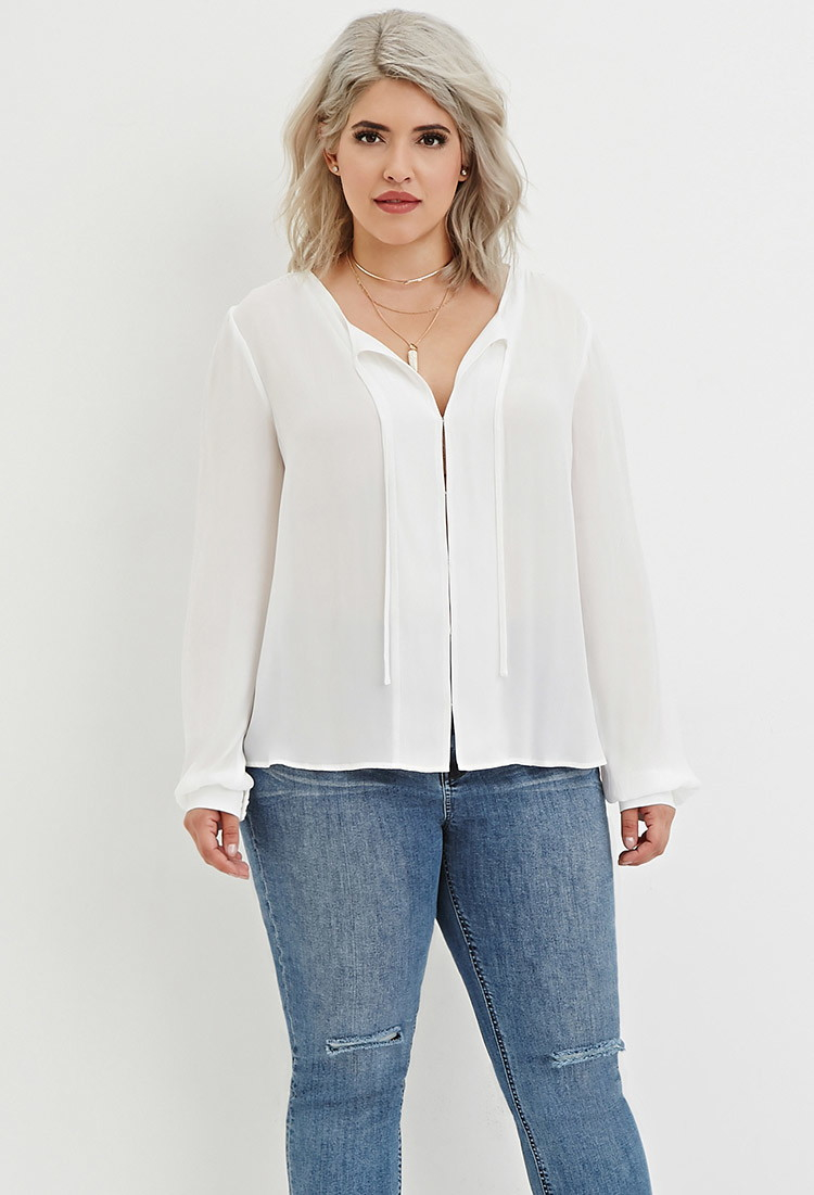 c22fc2d4cb2c4 Lyst - Forever 21 Plus Size Self-tie Chiffon Blouse in White