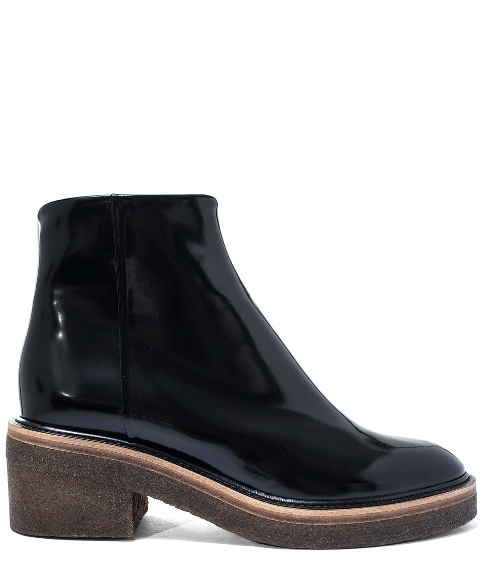 Dries van noten Black Crepe Sole Leather Ankle Boots in Black | Lyst