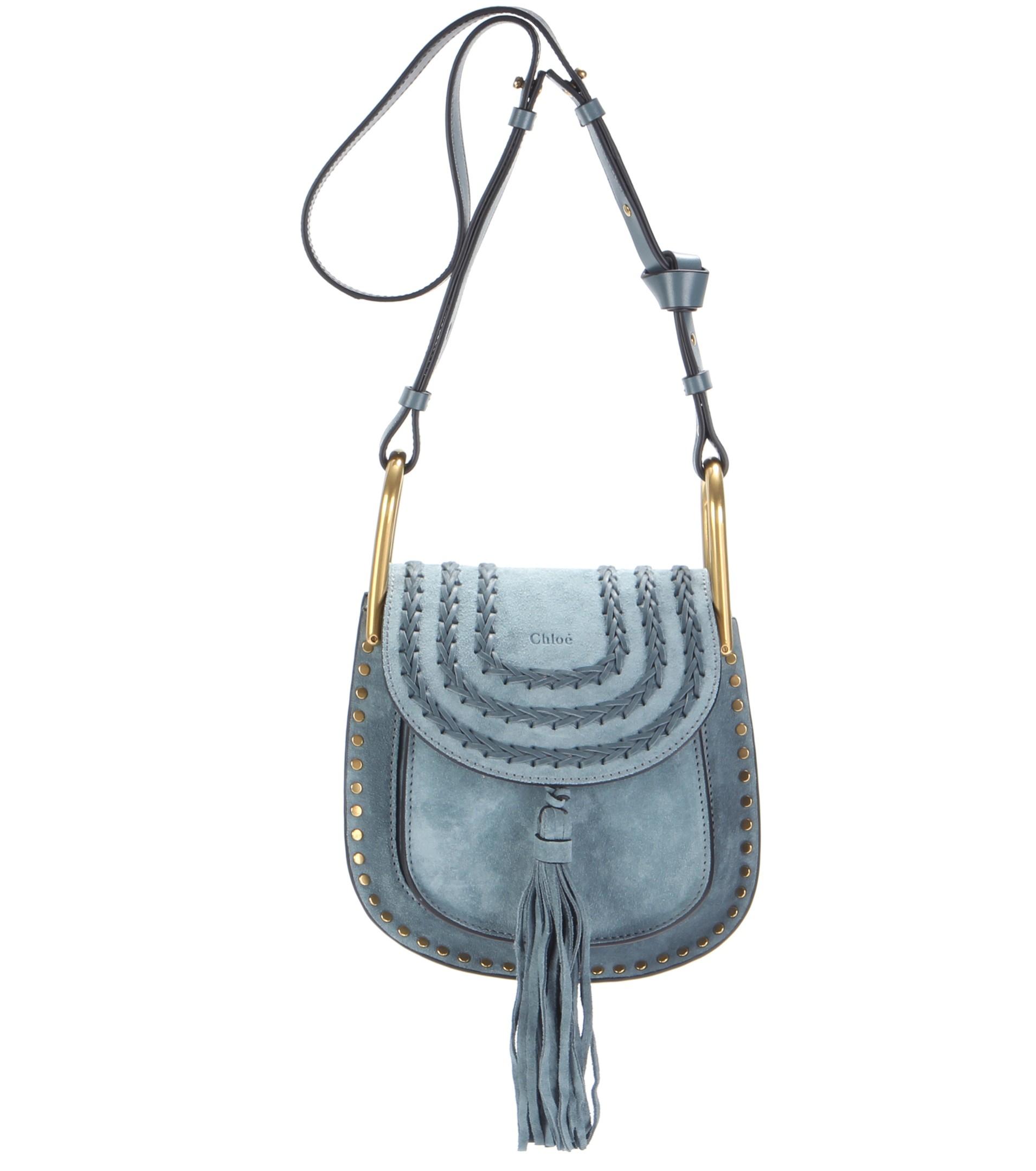 fa5dc5aecf Chloé Blue Hudson Small Suede Shoulder Bag