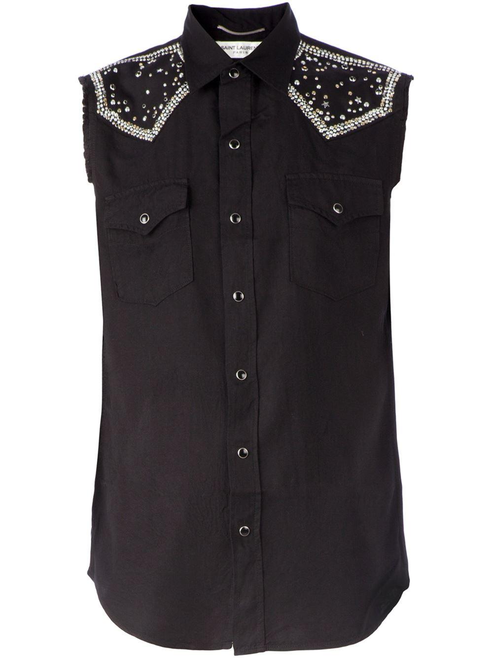 Saint Laurent Sleeveless Western Shirt In Black For Men Lyst