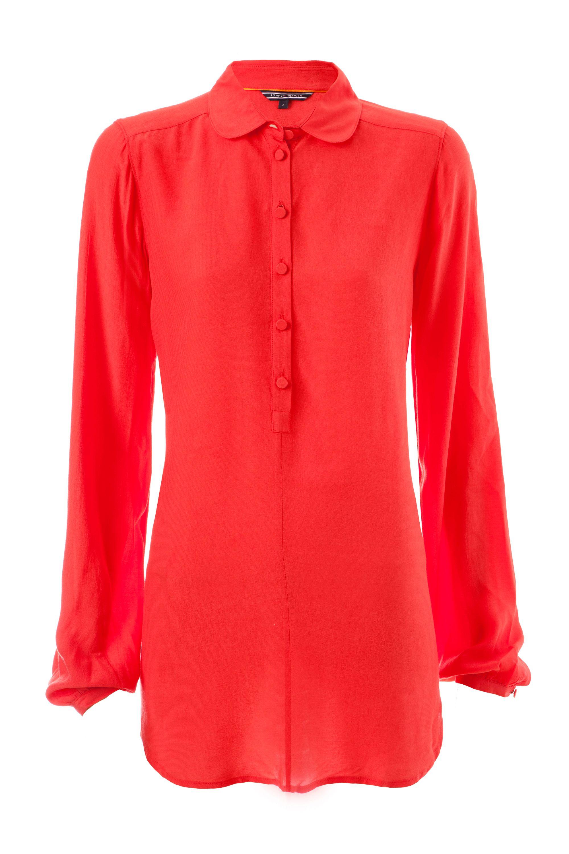 tommy hilfiger kara long sleeve blouse in red lyst. Black Bedroom Furniture Sets. Home Design Ideas