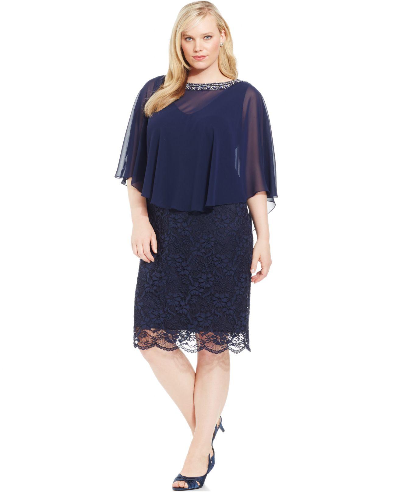 Plus Size Lace Capelet Dress