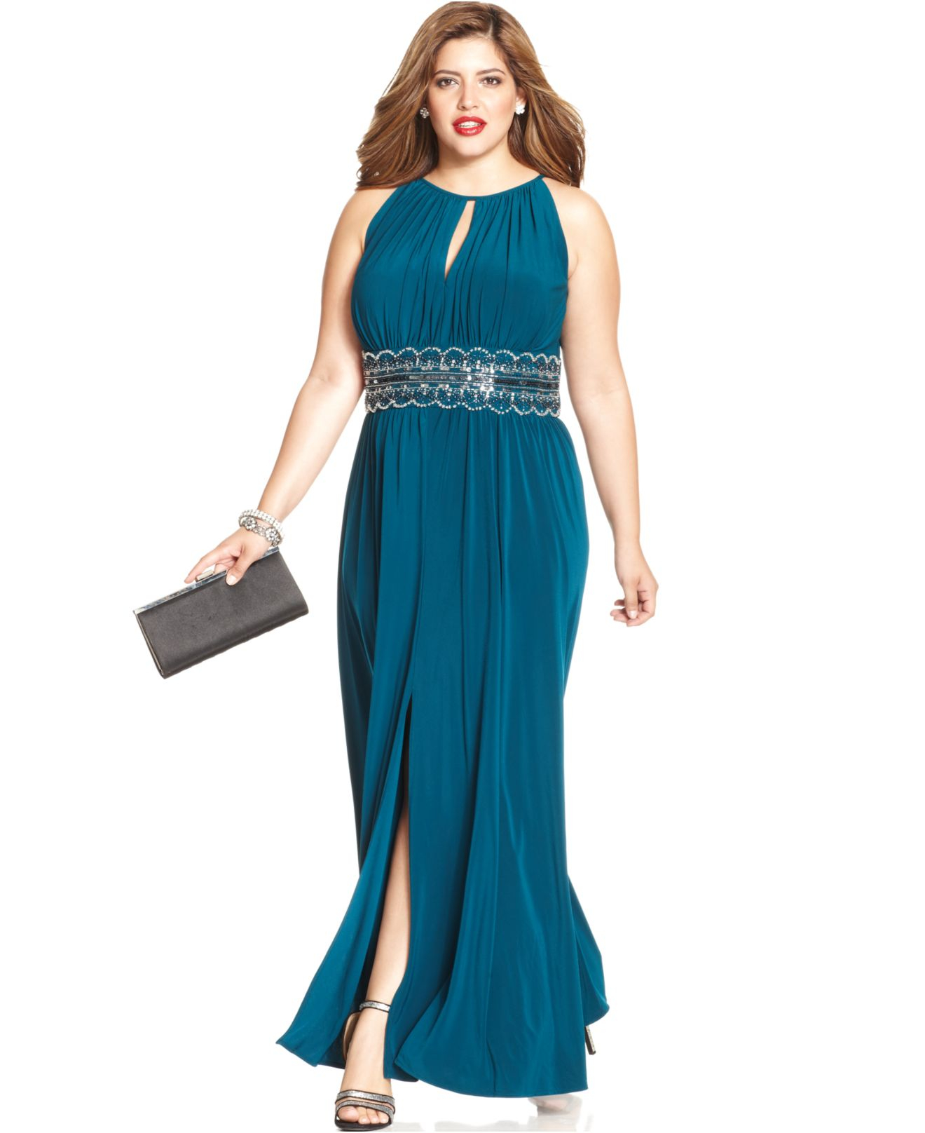 d618118dd2e R   M Richards R m Richards Plus Size Sleeveless Beaded Gown in ...