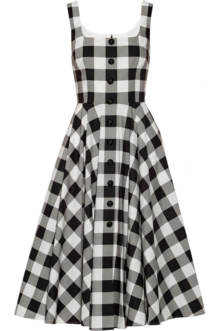 Dolce Amp Gabbana Gingham Cotton Dress In Black Lyst