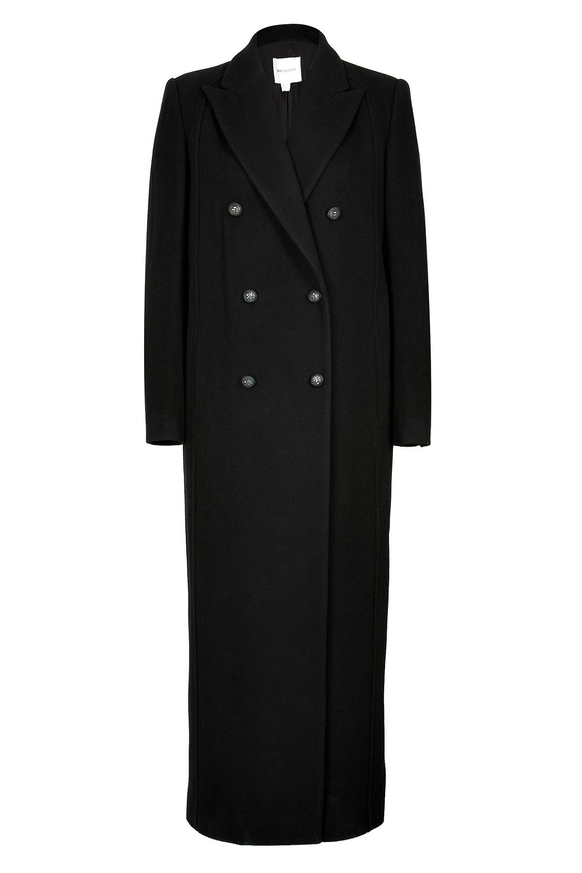 Balmain Wool Long Coat in Black | Lyst