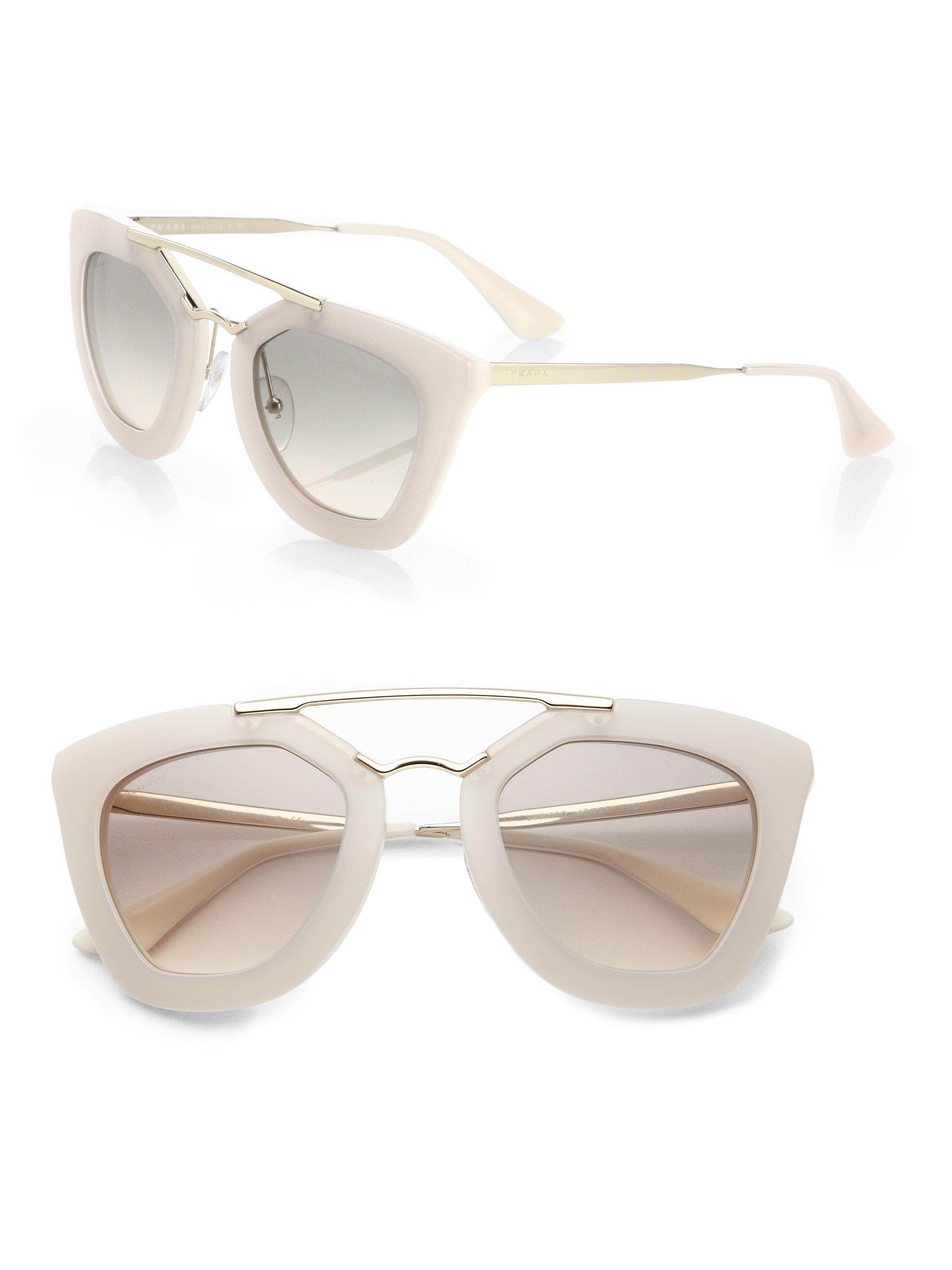 63aa9af56781 ... clearance lyst prada 49mm angular frame sunglasses in white ca047 56acd