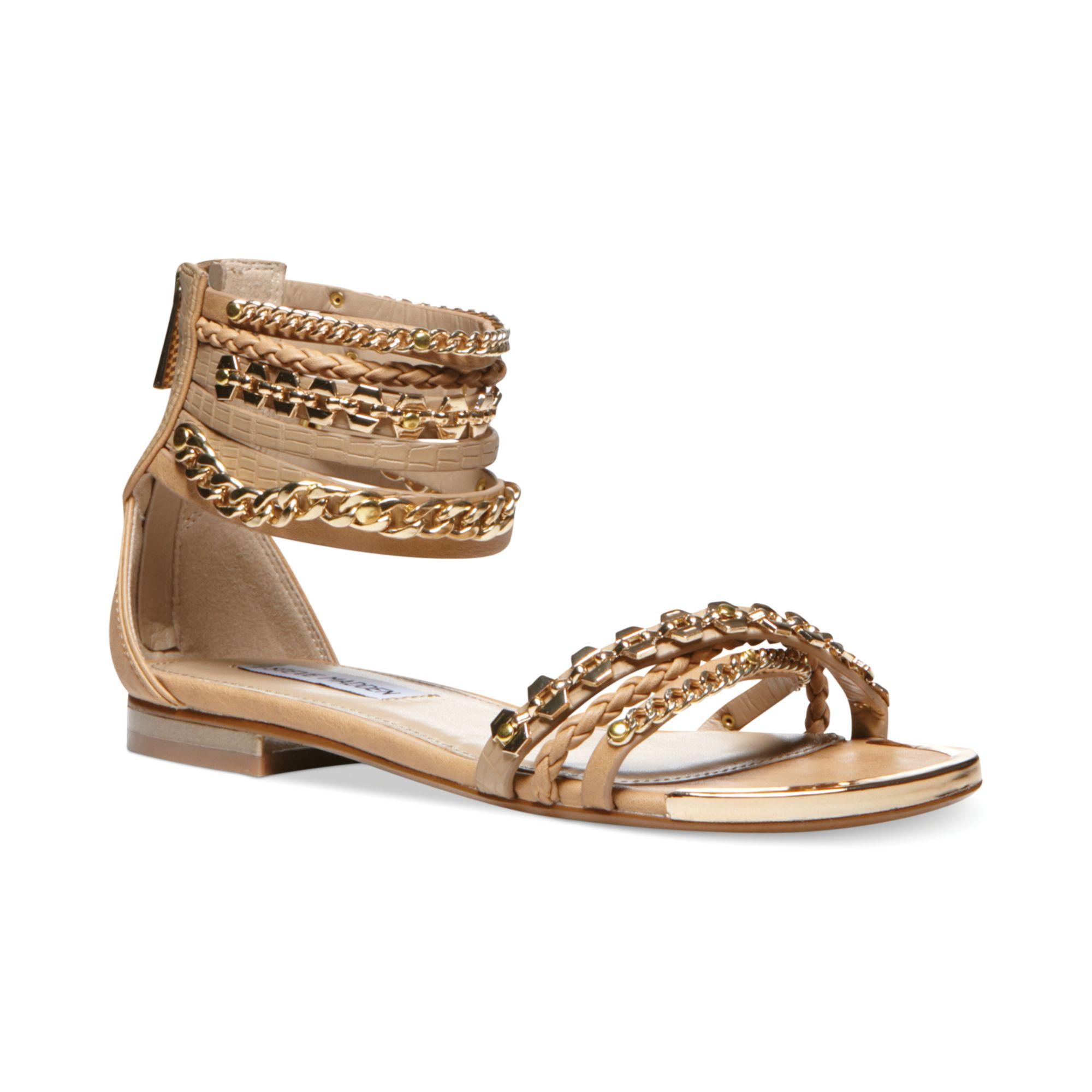 Steve Madden Womens Lawful Flat Sandals In Metallic Lyst