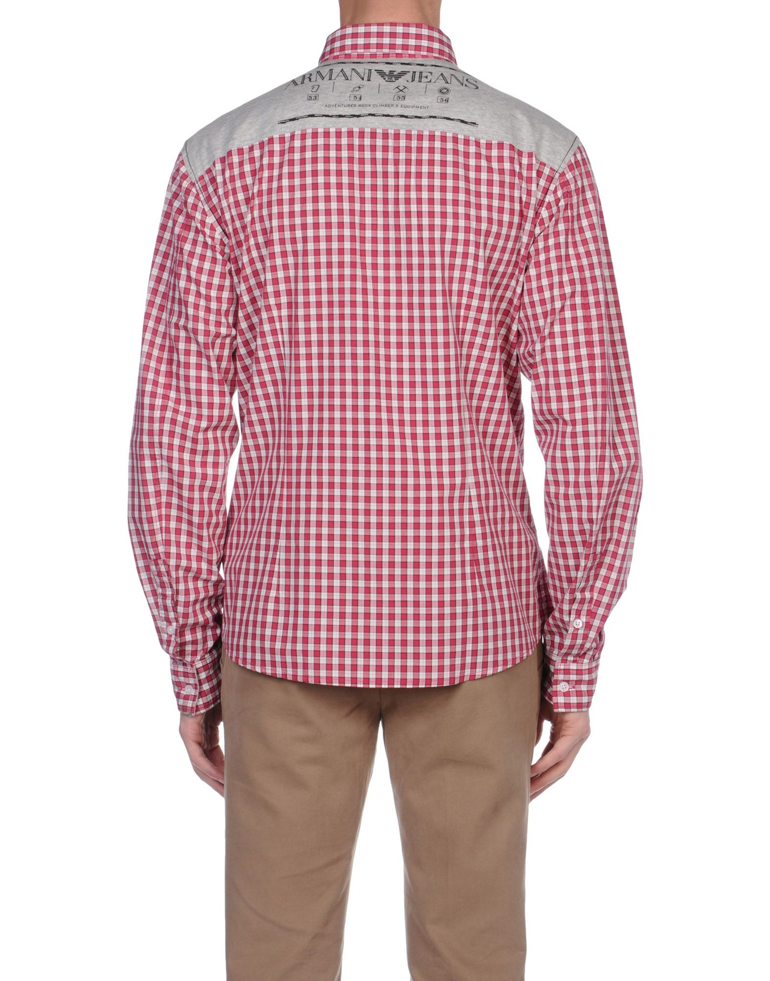 Armani jeans long sleeve shirt in pink for men lyst for Mens pink long sleeve shirt
