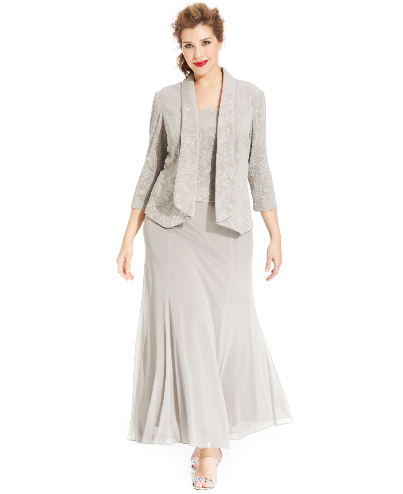 Alex Evenings Gray Plus Size Glitter Jacquard Dress And Jacket