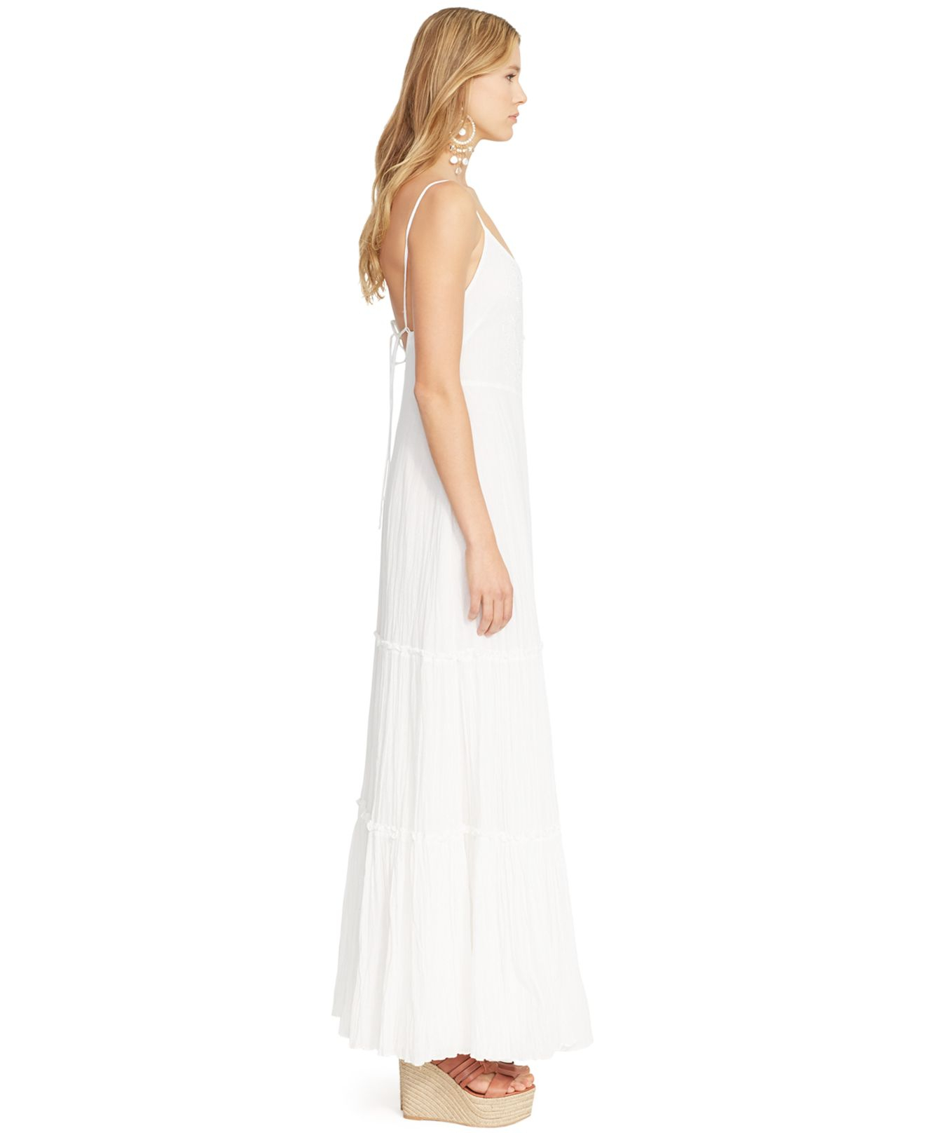 White sleeveless maxi dresses