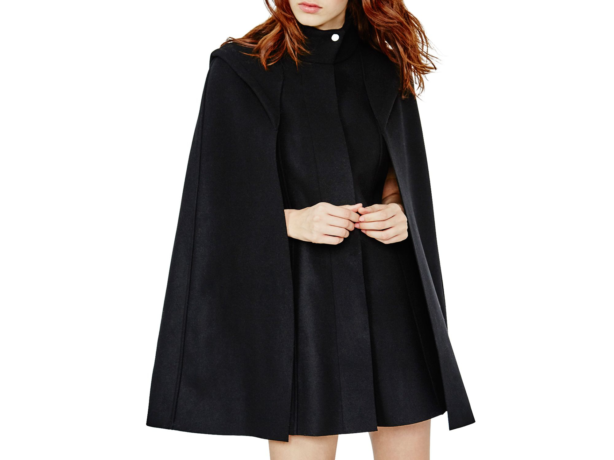 Maje Glasgow Wool-cashmere Cape Coat in Black | Lyst