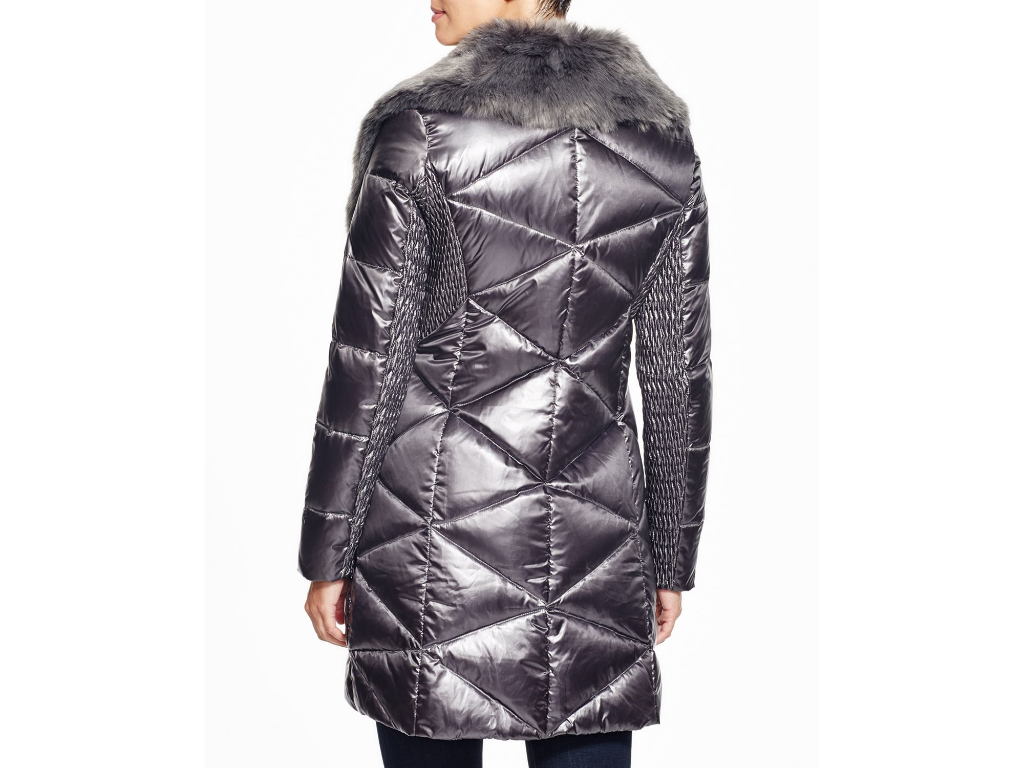 Lyst Via Spiga Faux Fur Trim Puffer Coat In Metallic