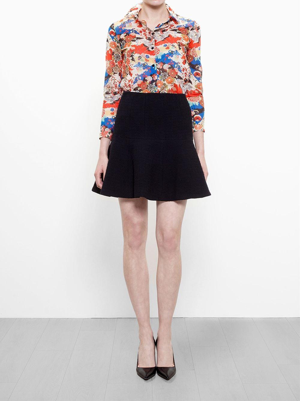 carven a line tweed skirt in black lyst