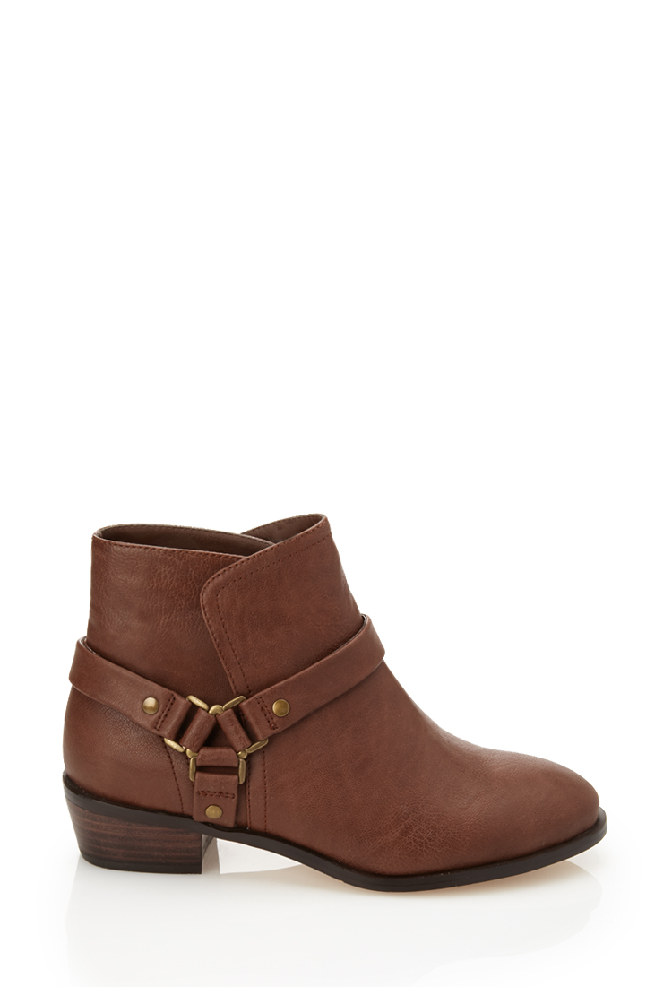 forever 21 harness ankle boots in brown lyst