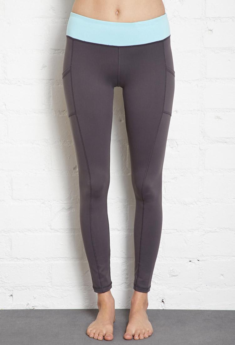 Forever 21 Side Pocket Skinny Workout Leggings In Blue Lyst