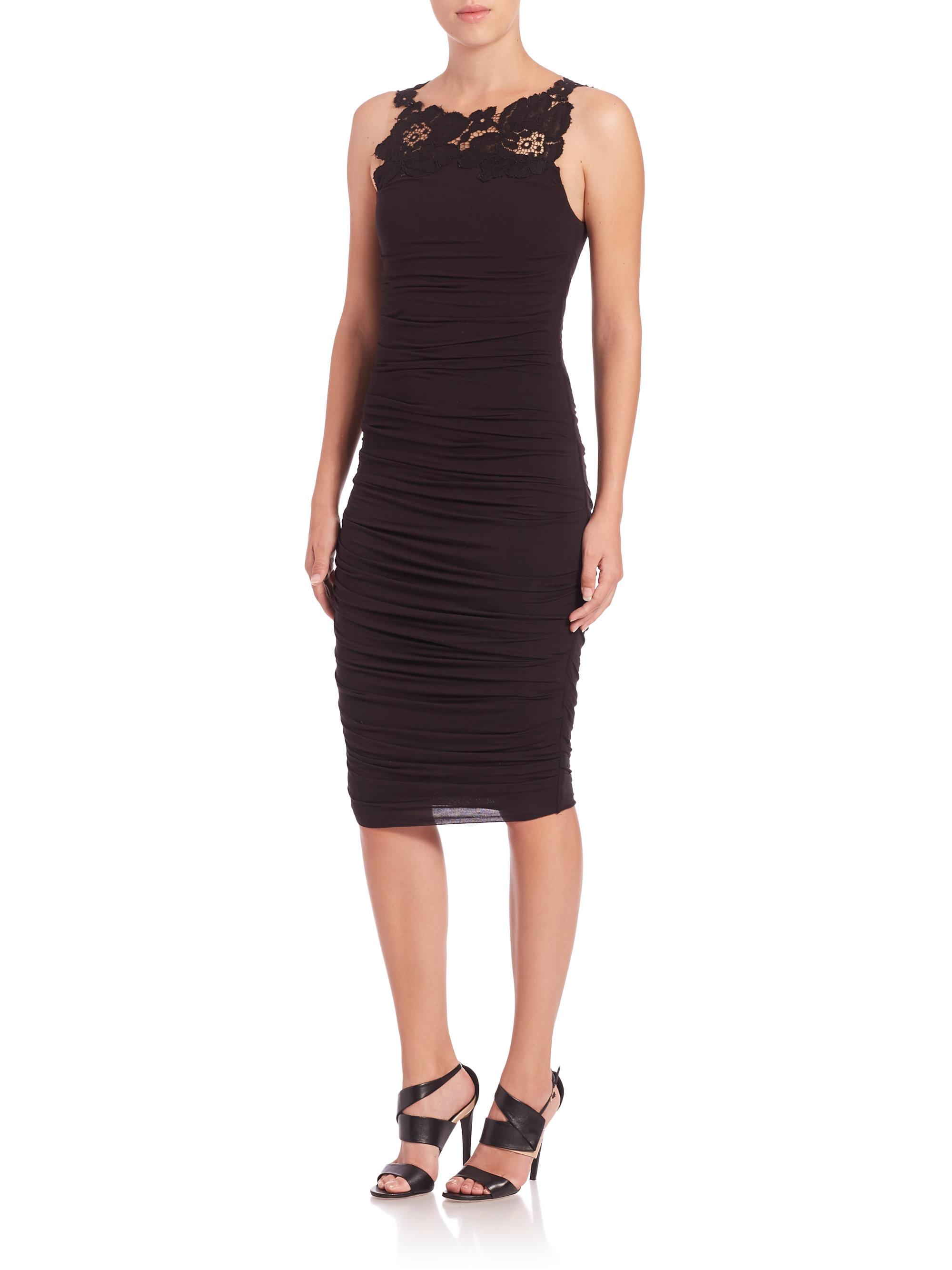 Crawford Ruched Lace Trim Dress