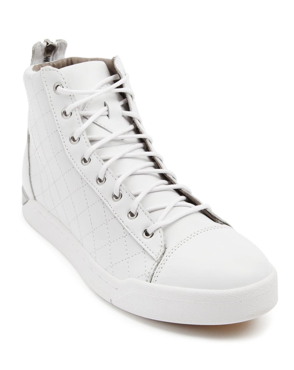 diesel tempus diamond white sneakers in white for men lyst