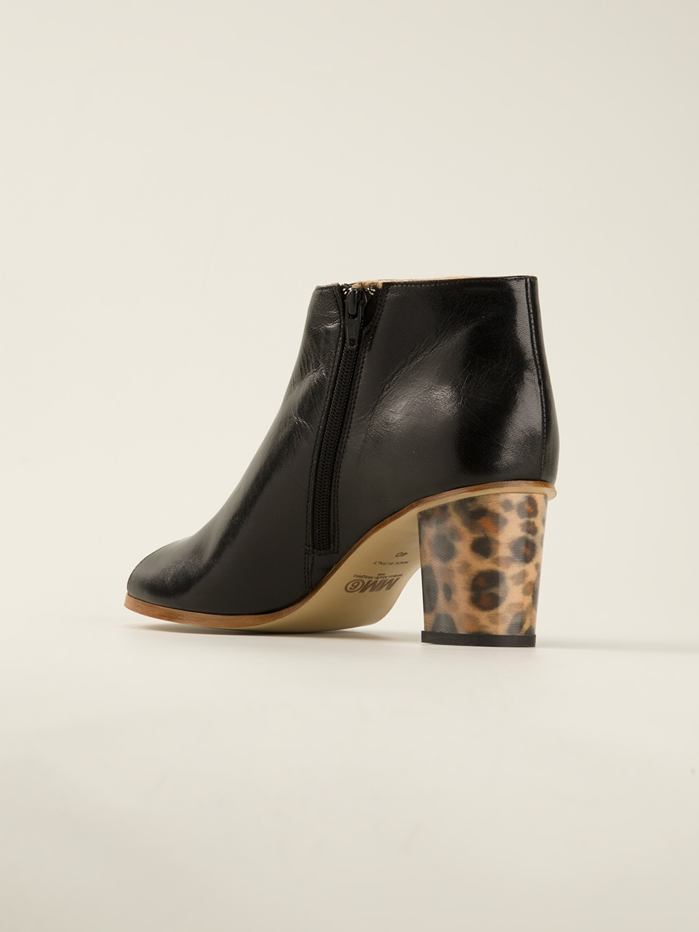 c4b3ba337dde Lyst maison martin margiela leopard print heel boot in black jpg 1000x1334 Black  leopard print boots