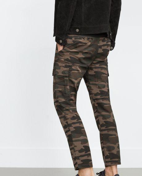 Original Zara Camouflage Tshirt In Multicolor  Lyst