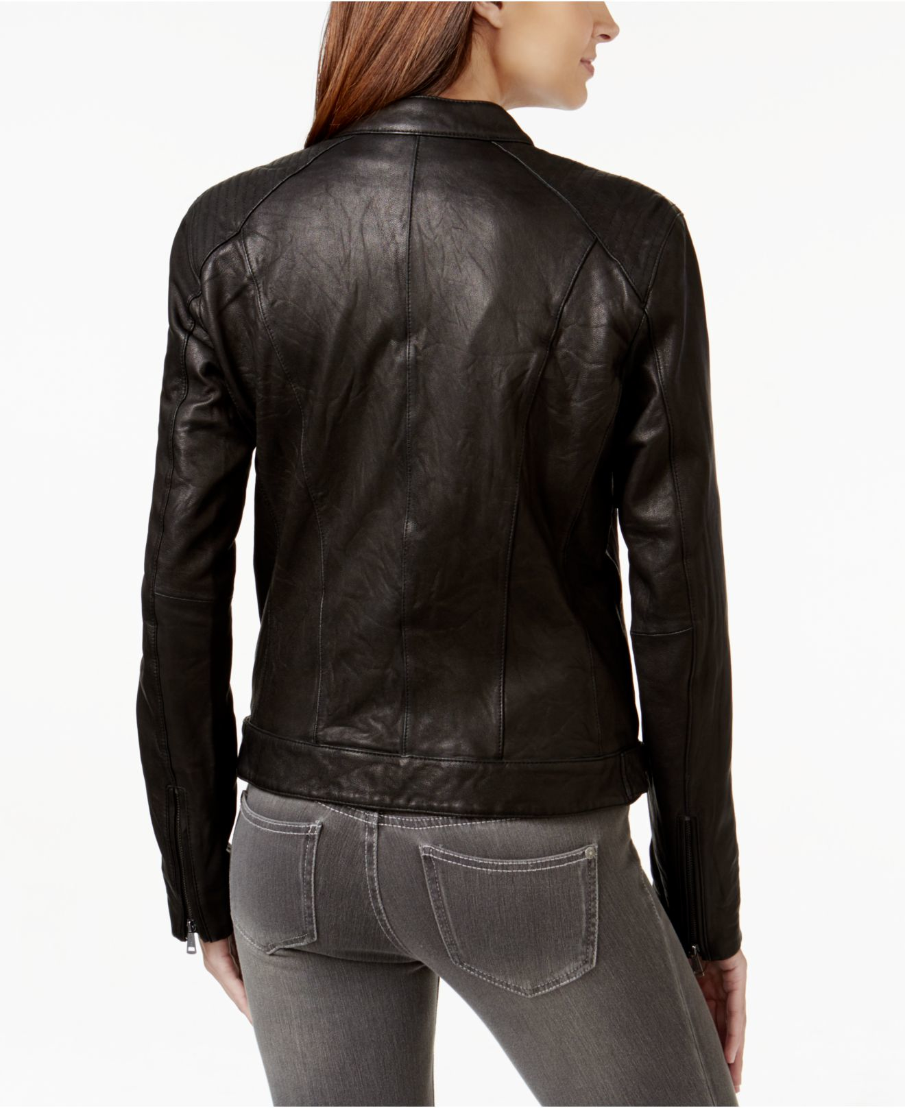 Cole Haan Leather Moto Jacket In Black Lyst
