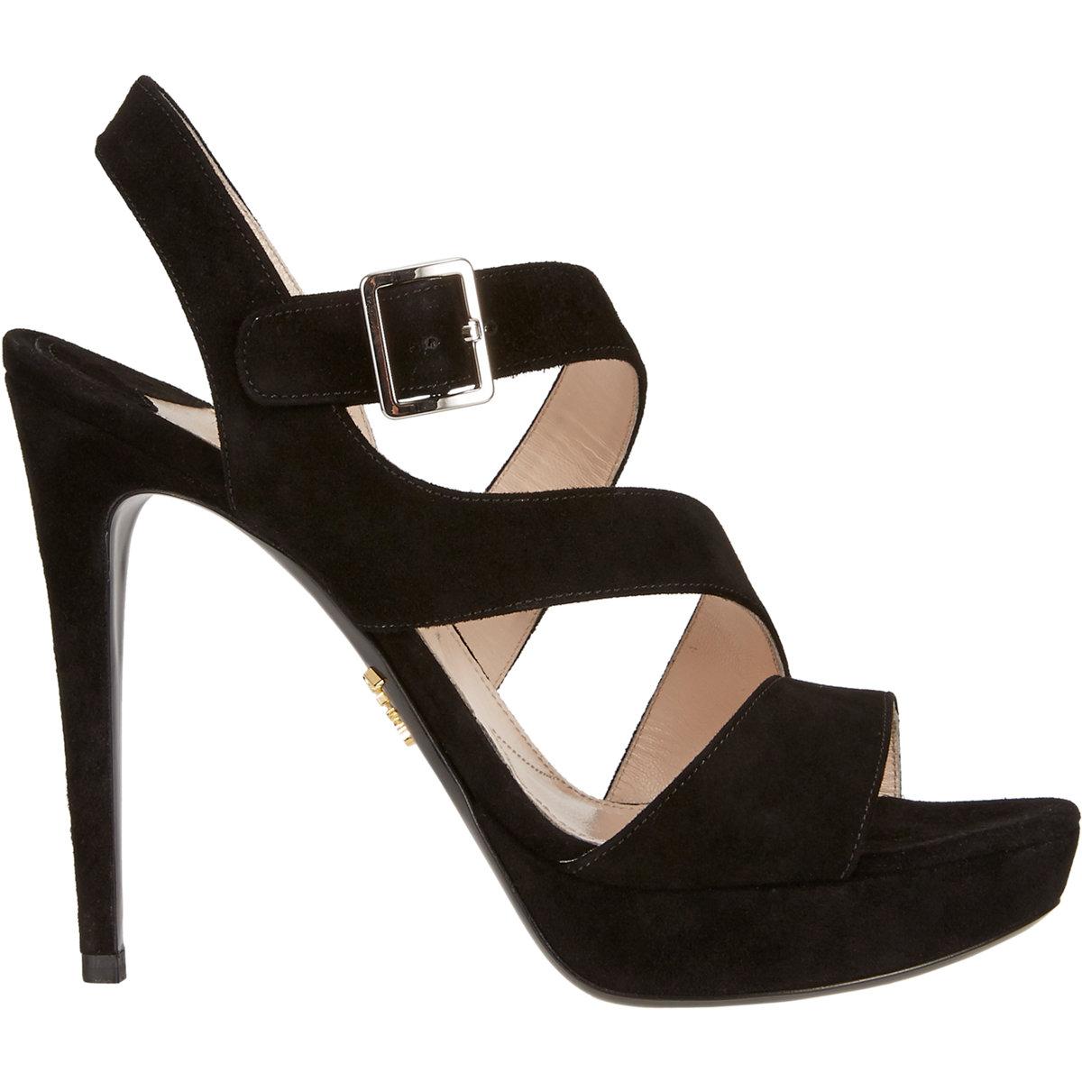 prada asymmetric platform sandals in black lyst