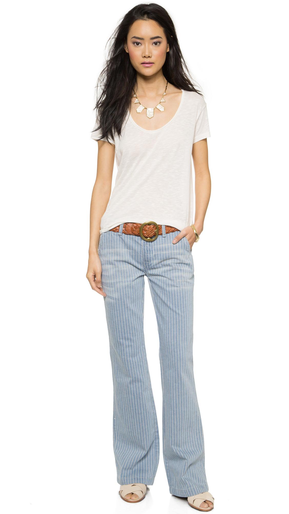 Free People Railroad Stripe Flare Jeans - Solar Blue