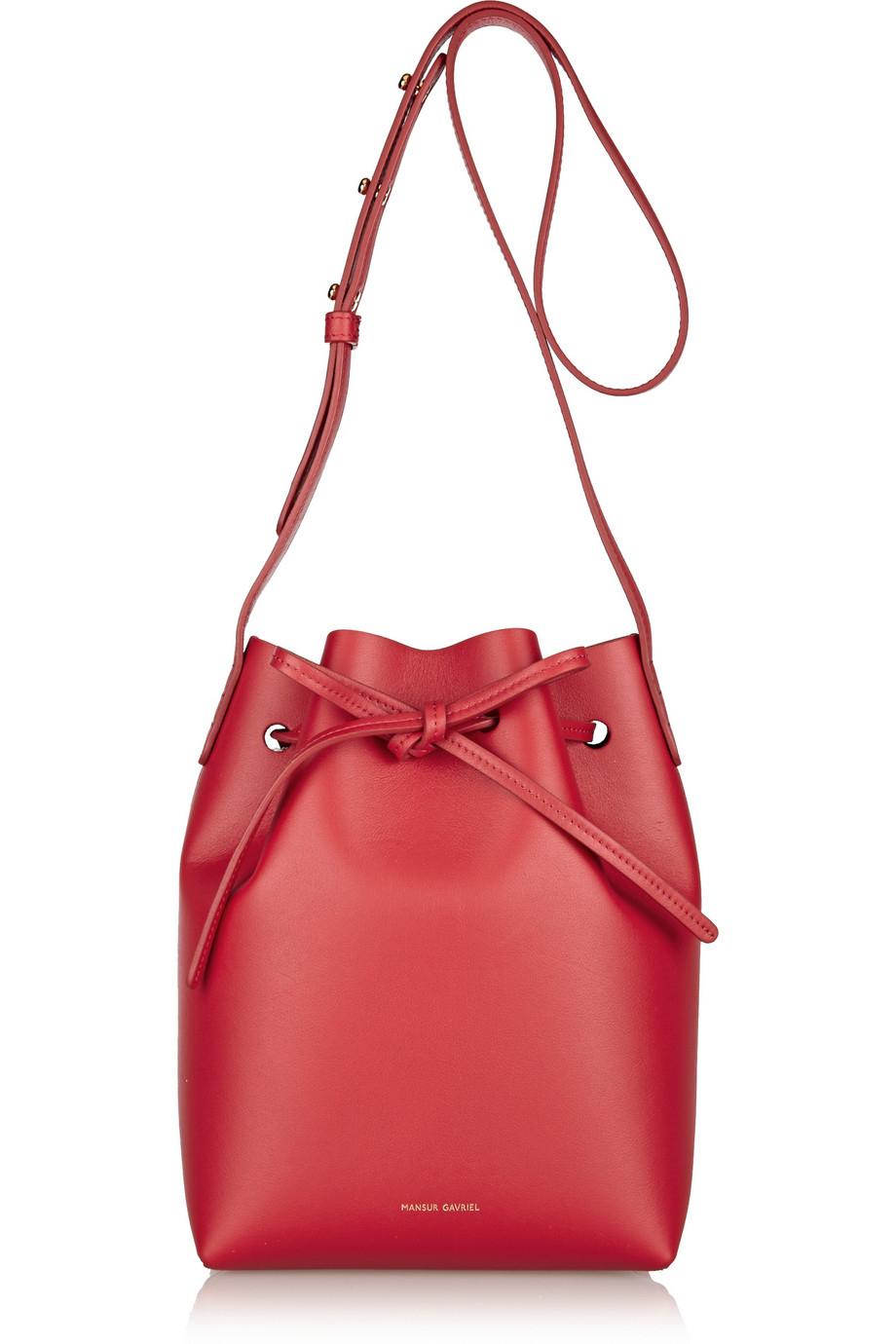 mansur gavriel mini leather bucket bag in red lyst. Black Bedroom Furniture Sets. Home Design Ideas