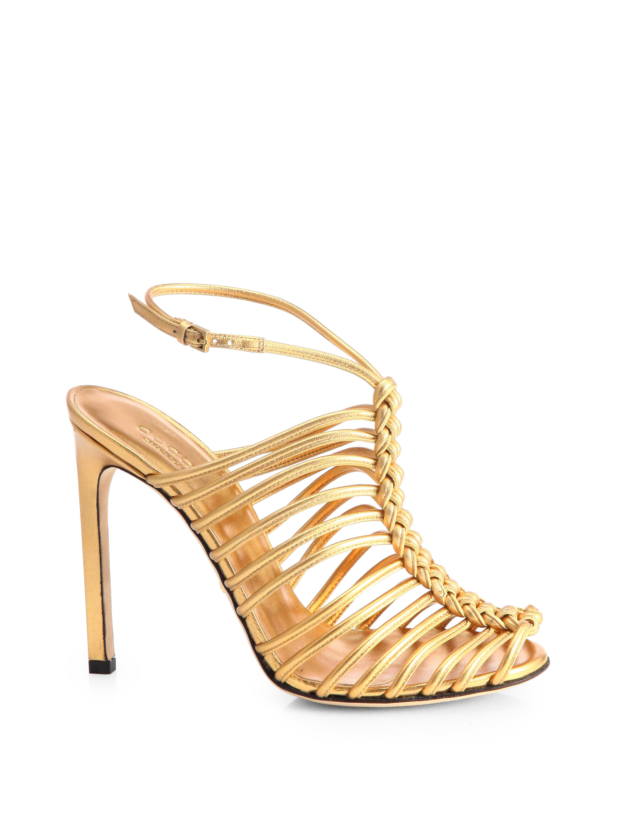 Gucci Strappy Knotted Sandals In Gold Lyst