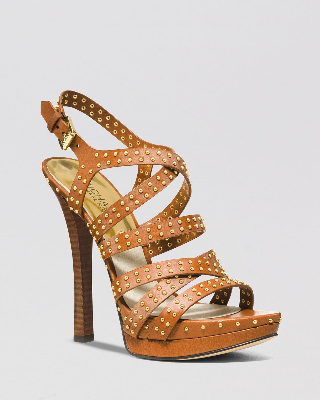 michael michael kors open toe platform sandals arianna high heel in brown lyst. Black Bedroom Furniture Sets. Home Design Ideas