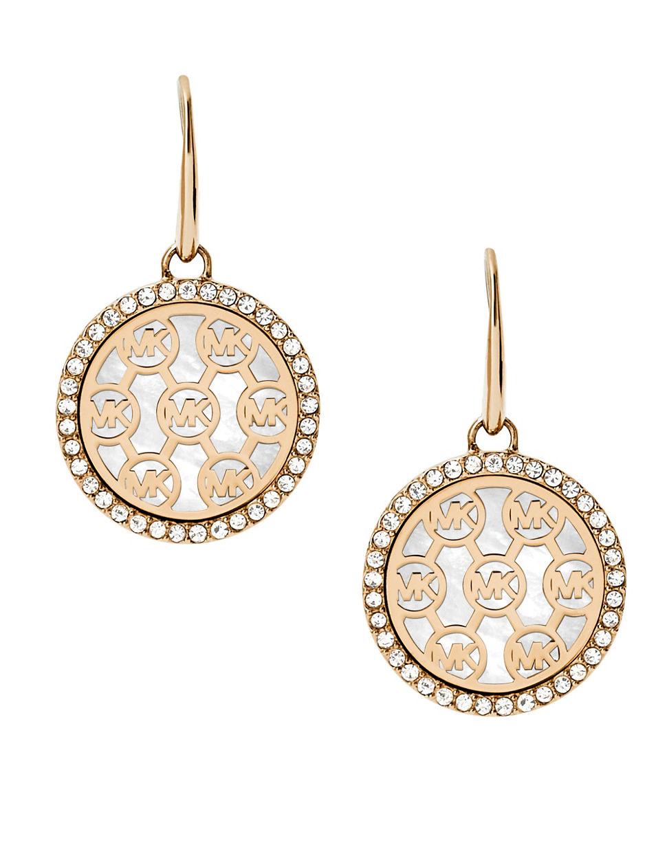 michael kors logo goldtone drop earrings in metallic lyst
