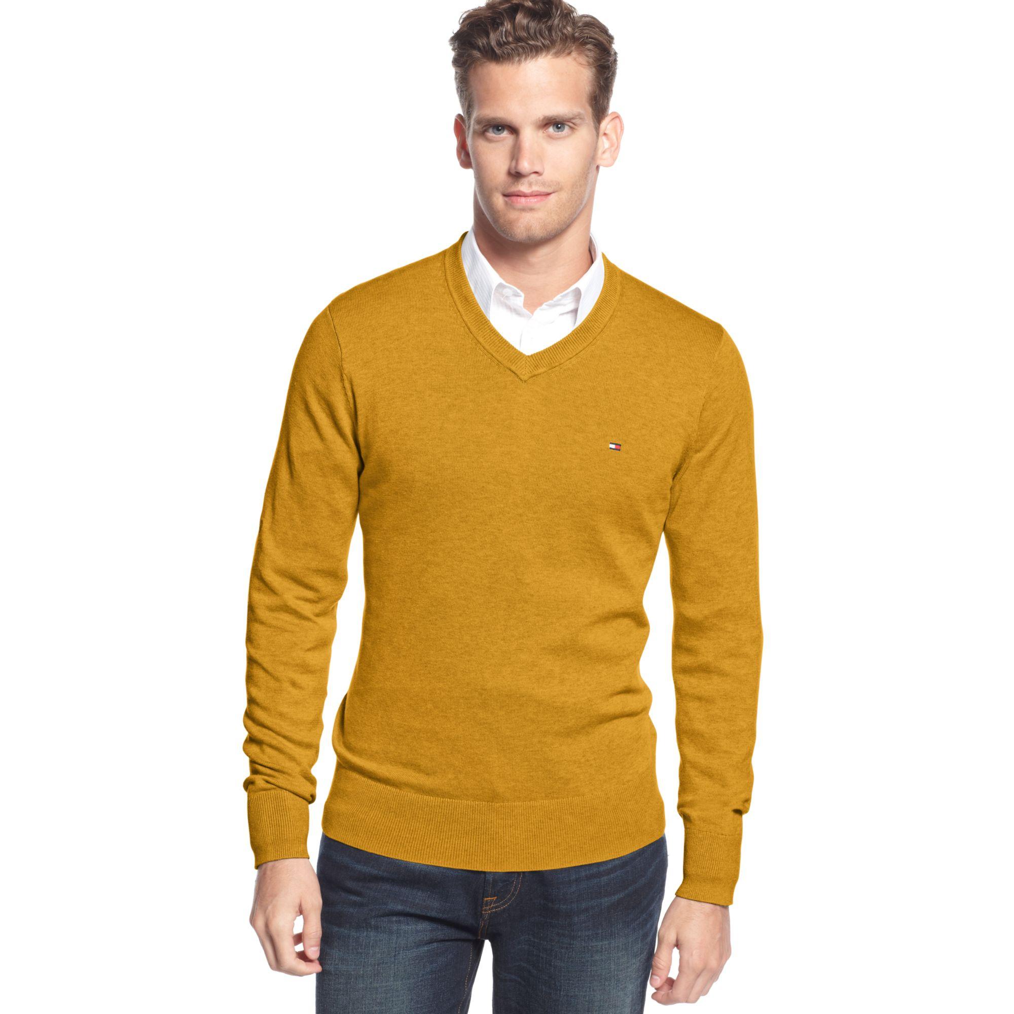 tommy hilfiger signature solid v neck sweater in orange. Black Bedroom Furniture Sets. Home Design Ideas