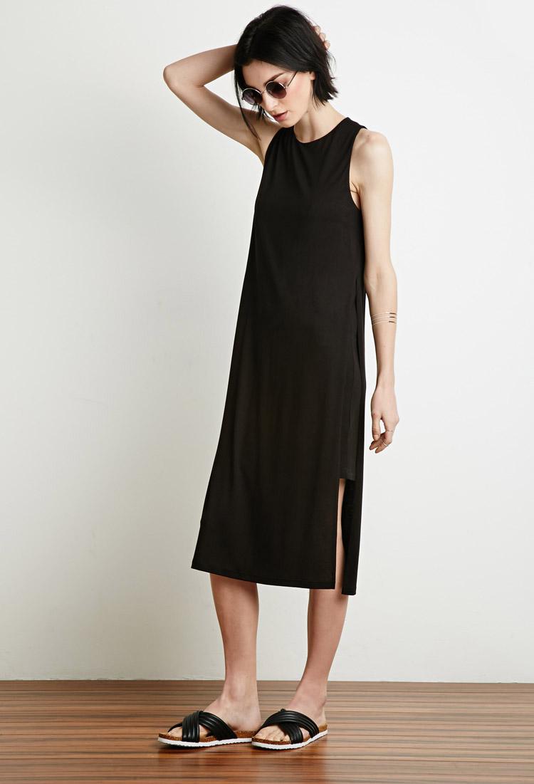 Forever 21 Side Slit Midi Dress In Black Lyst