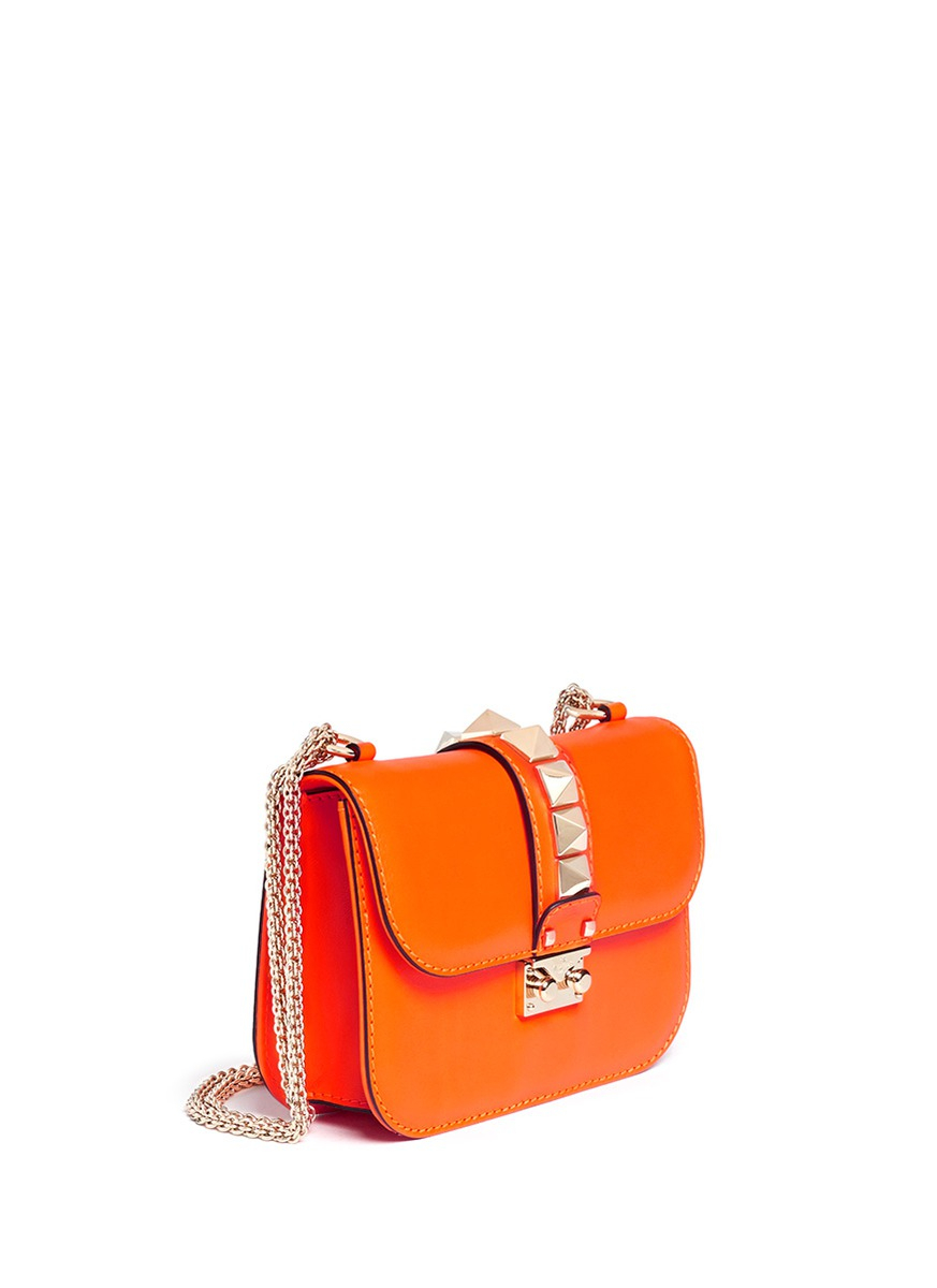 Valentino Rockstud Leather Chain Bag In Orange Lyst