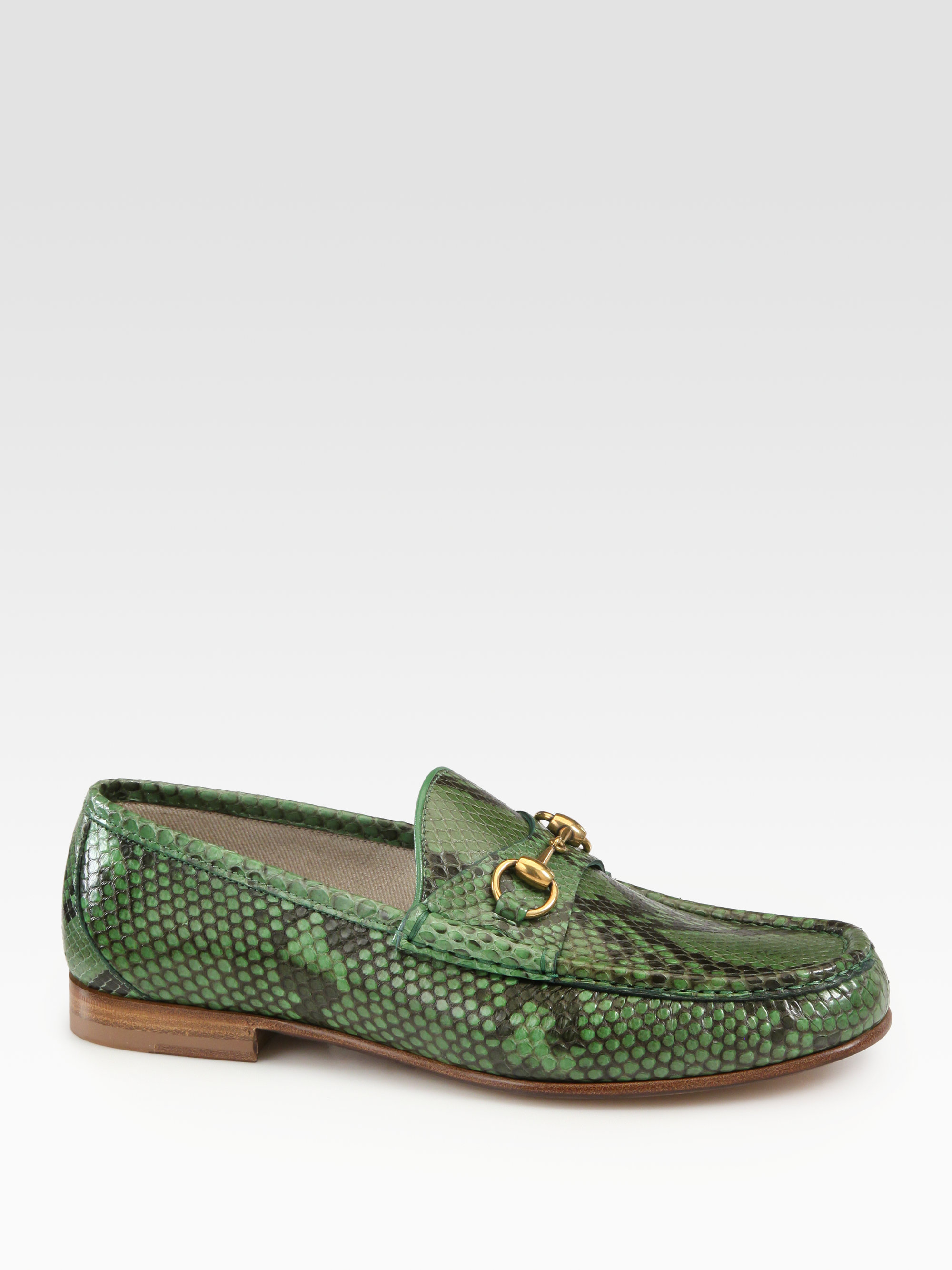 Gucci Green Python Horsebit Loafers for