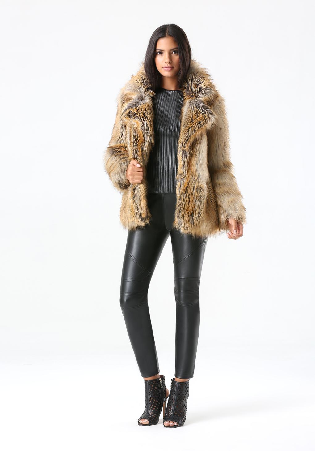 Bebe Glam Faux Fur Coat In Natural Lyst