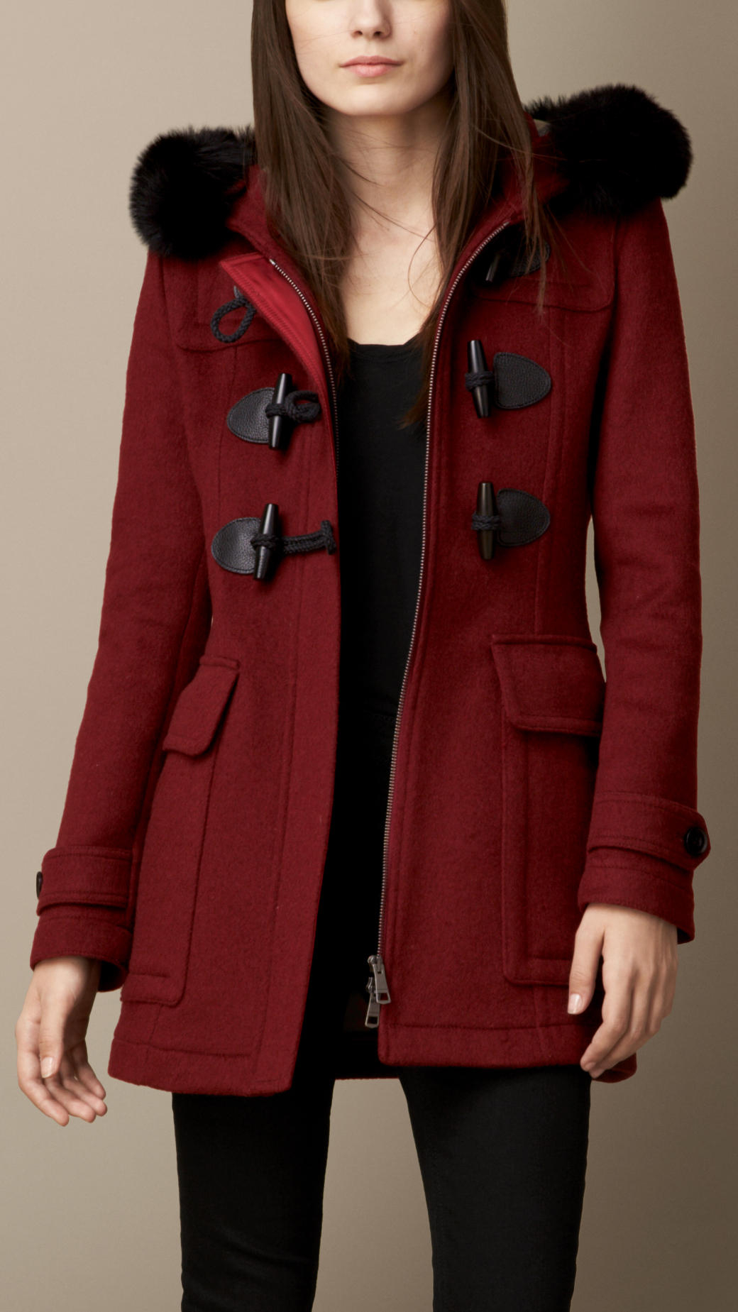 Burberry Detachable Fur Trim Fitted Duffle Coat in Red | Lyst