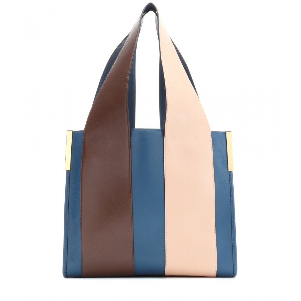 Chloé Beach Bag Leather Tote in Blue | Lyst