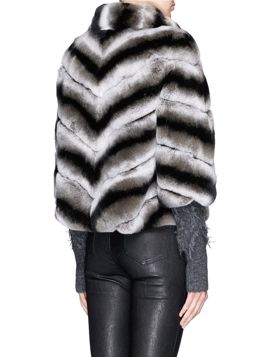 c121f78d18ea Lyst - Yves Salomon Suede Stripe Rabbit Fur Jacket