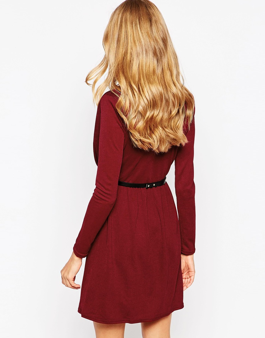 oh my plunge skater dress with belt in purple