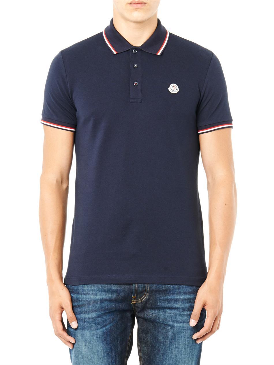 lyst moncler logo badge polo shirt in blue for men. Black Bedroom Furniture Sets. Home Design Ideas