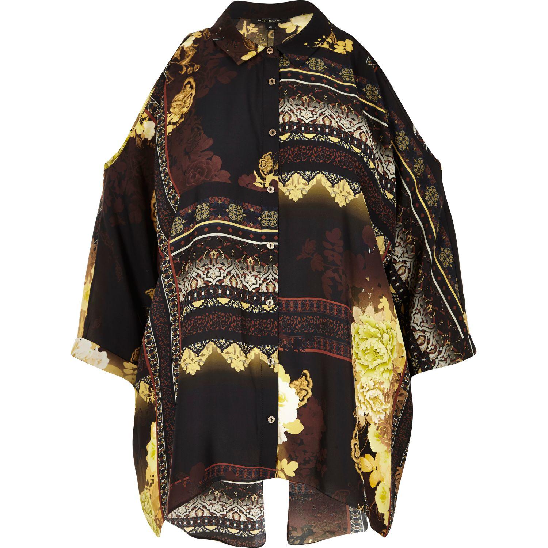 ef3ca13f2e7 River Island Yellow Print Cold Shoulder Shirt in Black - Lyst
