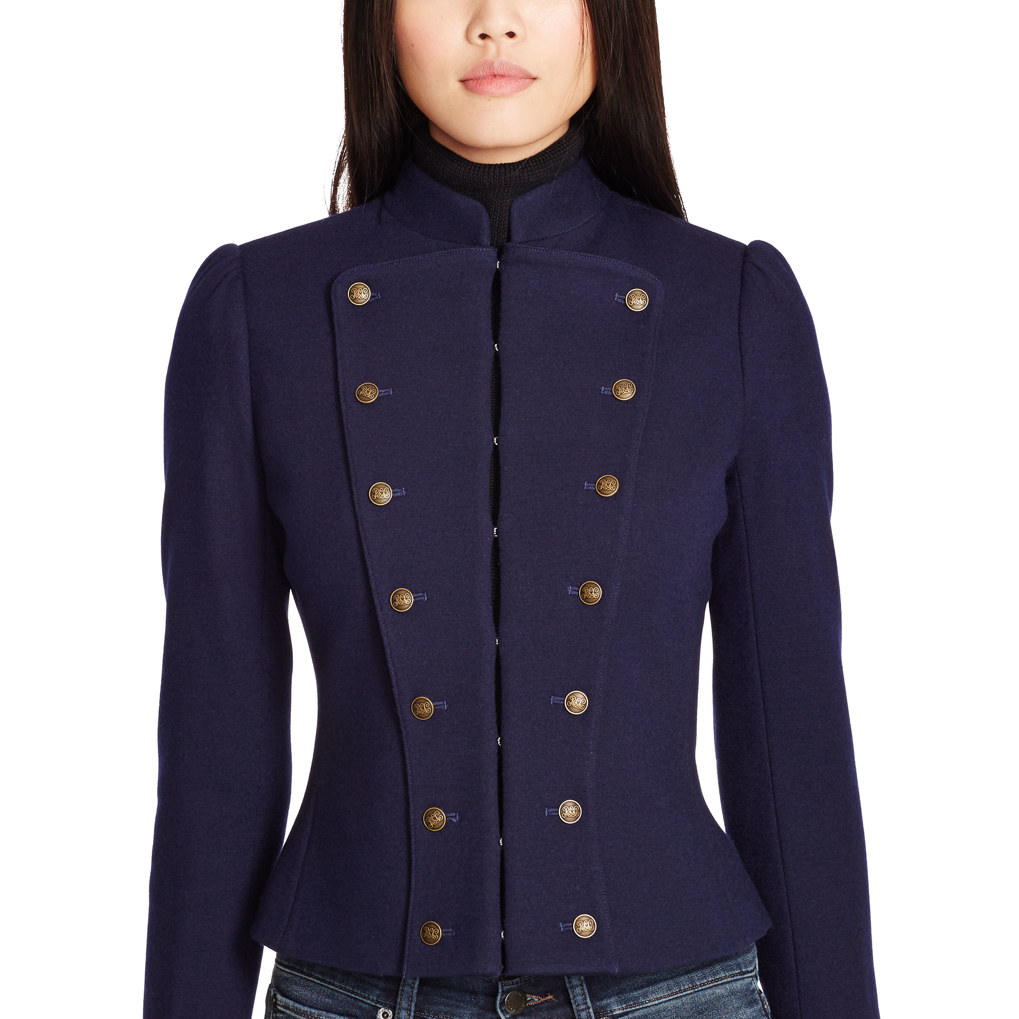 Polo Ralph Lauren Wool Blend Military Jacket In Blue Lyst