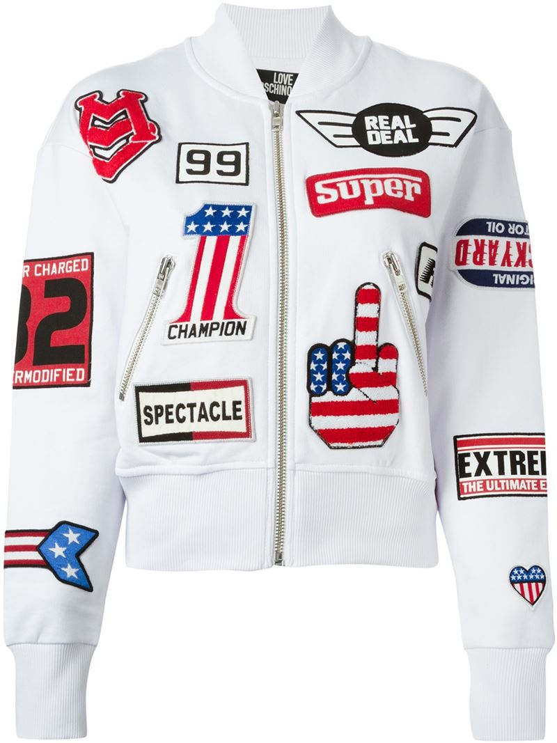 Love Moschino White Race Patch Sports Jacket
