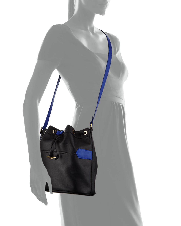 e5e581341af Lyst - Longchamp Bicolor Leather Bucket Bag in Black