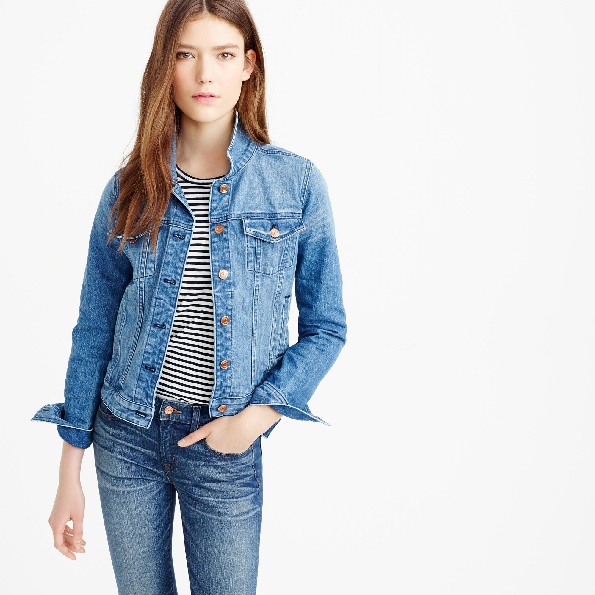 Jcrew Premium Stretch Denim Jacket In Blue  Lyst-3408