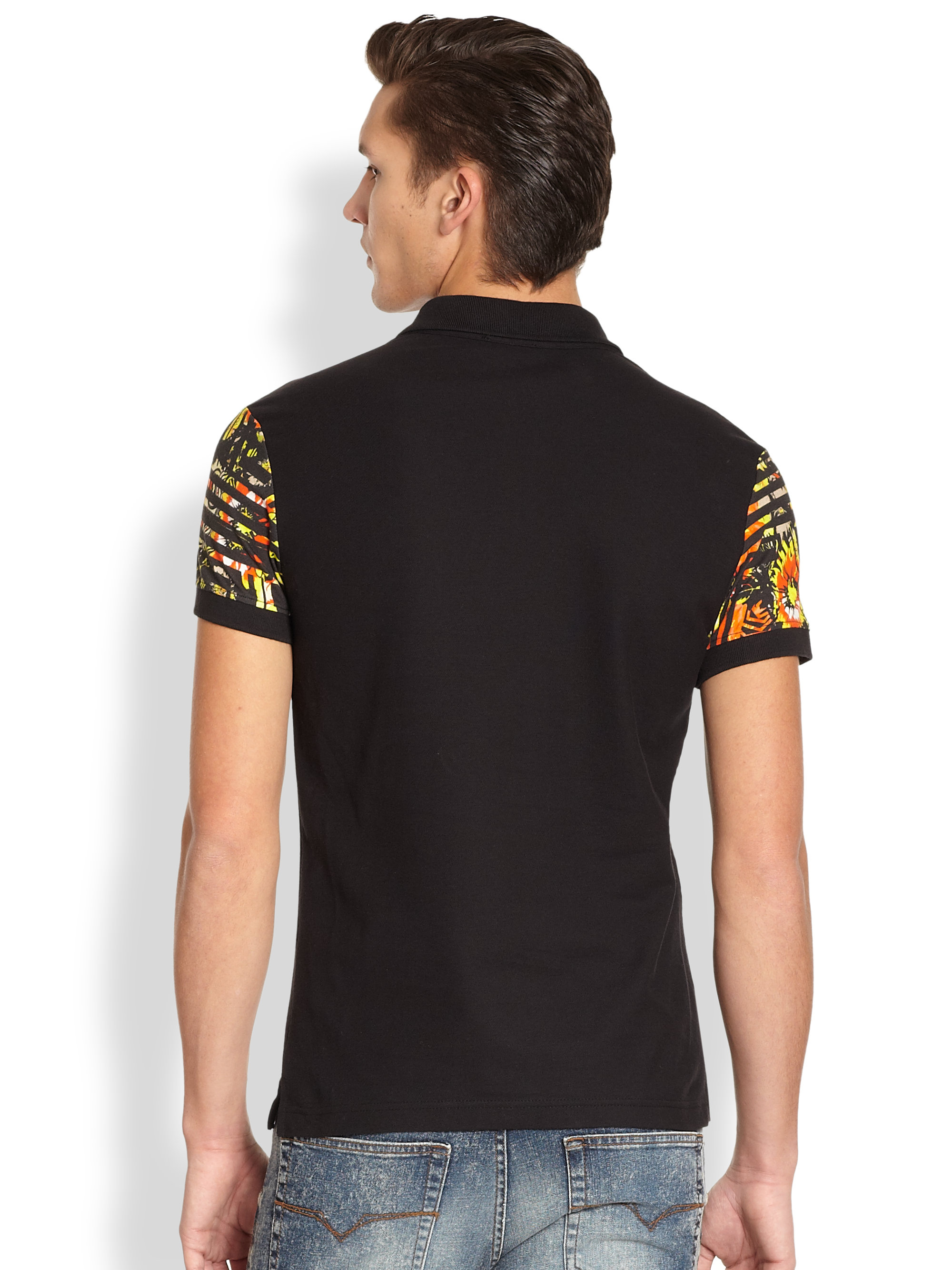 Versace Jeans Floral Sleeve Polo Shirt In Black For Men Lyst