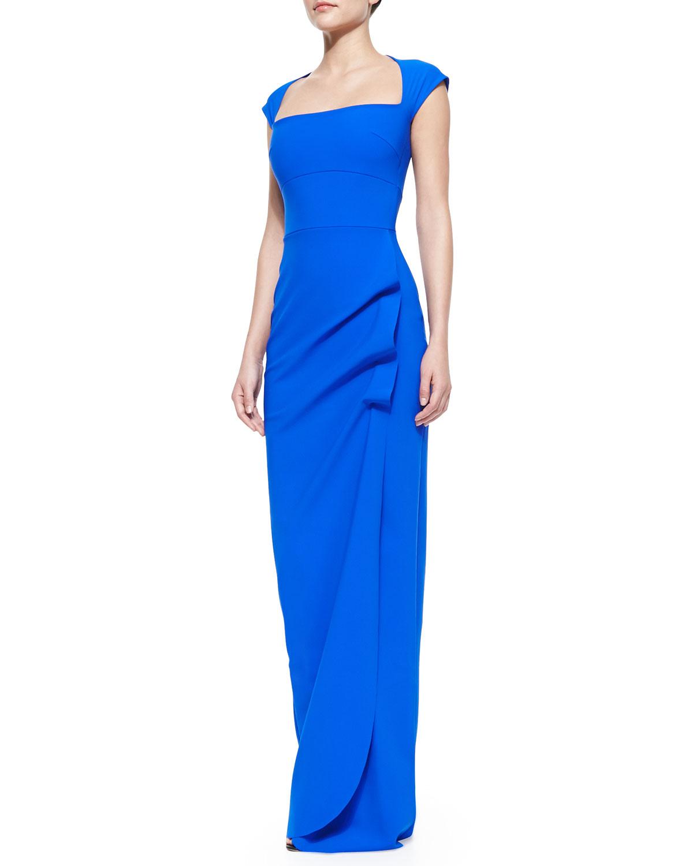 la petite robe di chiara boni capsleeve ruffleside column gown blue in blue 938 blue lyst. Black Bedroom Furniture Sets. Home Design Ideas