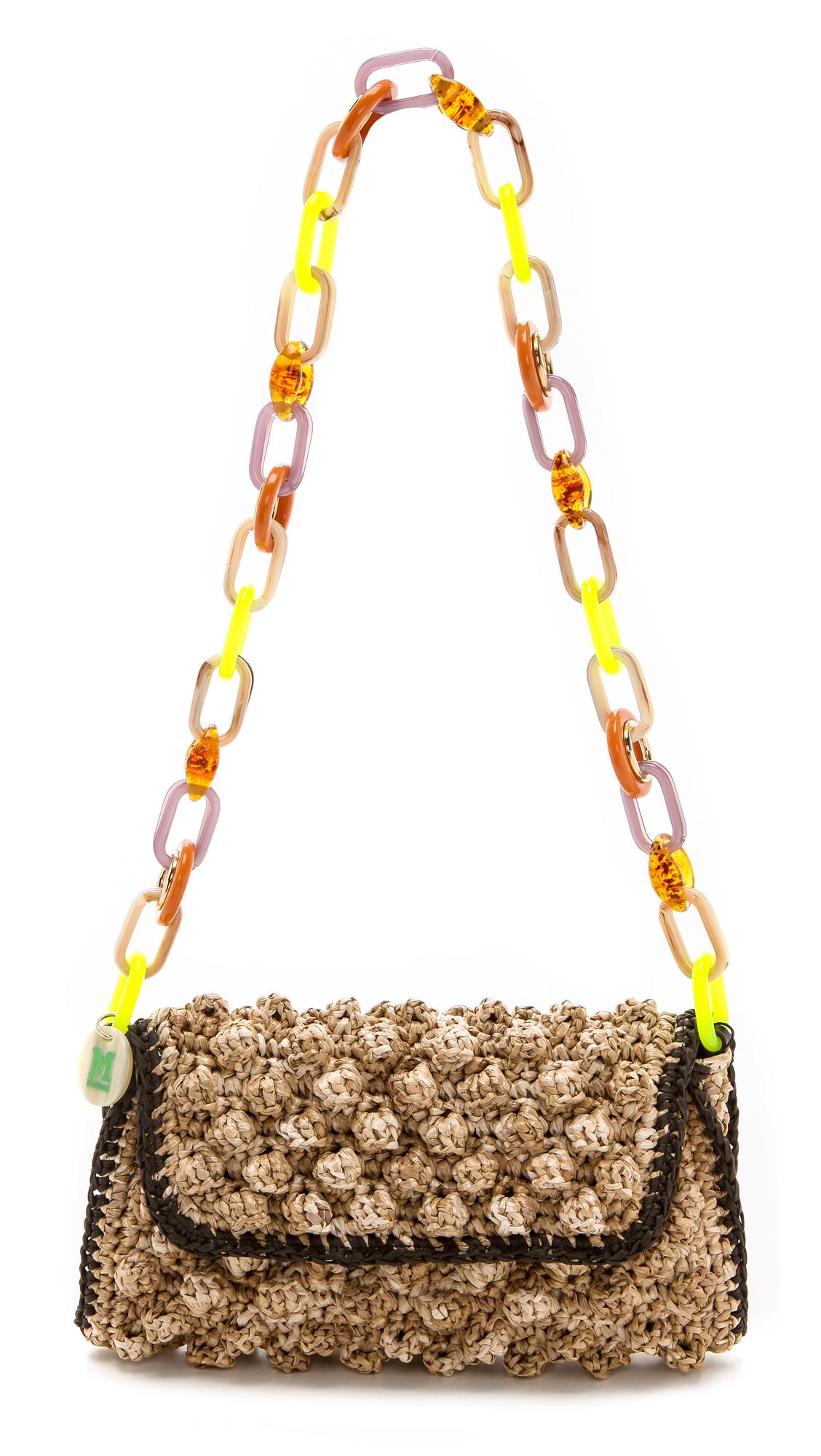 M missoni Melange Raffia Shoulder Bag in Brown